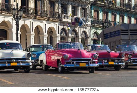 Most beautiful classic cars parked in Havana Cuba