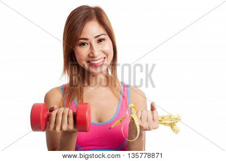 Beautiful Asian Healthy Girl With Dumbbell And Measuring Tape
