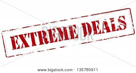 Rubber stamp with text extreme deals inside vector illustration