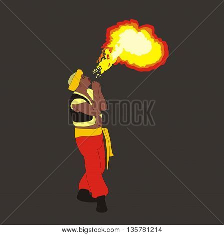 Illustration of fireeater fakir wearing turban with flame over dark background