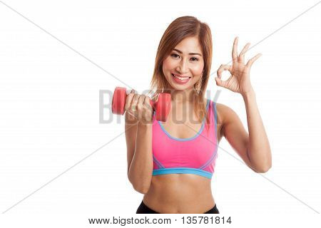 Beautiful Asian Healthy Girl Show Ok With Dumbbell