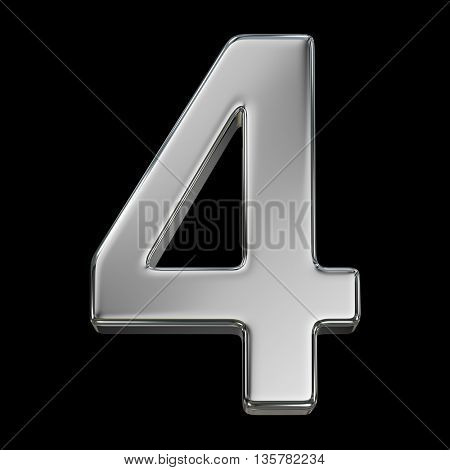 3d rendering, metal number collection - four, from chrome solid material.