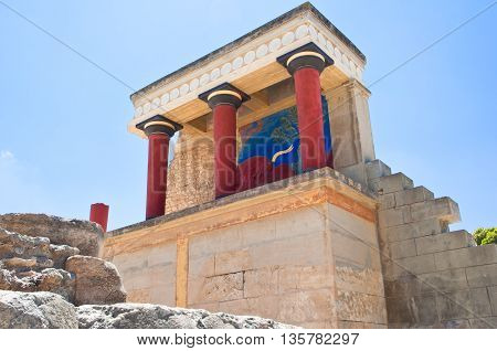 North Entrance with charging bull fresco at the background at the Knossos palace on the Crete island Greece.
