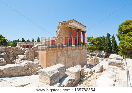 Knossos palace on the island of Crete. HeraklionGreece.