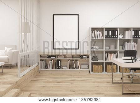 Creative contemporary cozy office interior with wooden floor concrete wall blank picture frame bookshleves workplace and lounge area with sofa. Mock up 3D Rendering