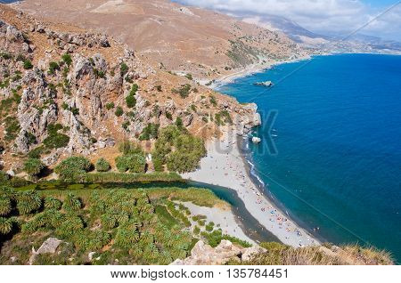 Preveli beach and palm trees on the Crete island Greece.