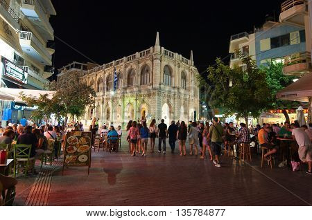 CRETE HERAKLION-JULY 25: Nightlife on July 25 2014 in Heraklion on the Crete island Greece.Heraklion also Iraklion is the largest city and the administrative capital of the island of Crete Greece.