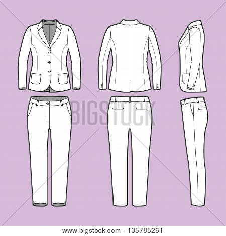 Women s clothing set. Blank template of classic blazer and pants in front, back and side views. Casual style. Workwear suit. Vector illustration for your fashion design.