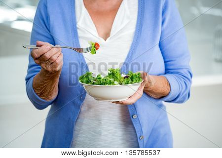 Mid section of senior woman eating salad in kitchen