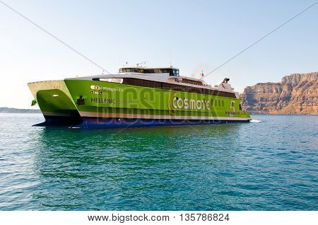 SANTORINI-JULY 28: Ferry arrives to the port of Thira on July 28 2014 Santorini island Greece.