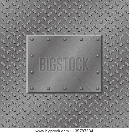 Rusty Metal Background with plate and rivets. Metallic grunge texture. Steel iron aluminum surface template. Abstract techno vector illustration.