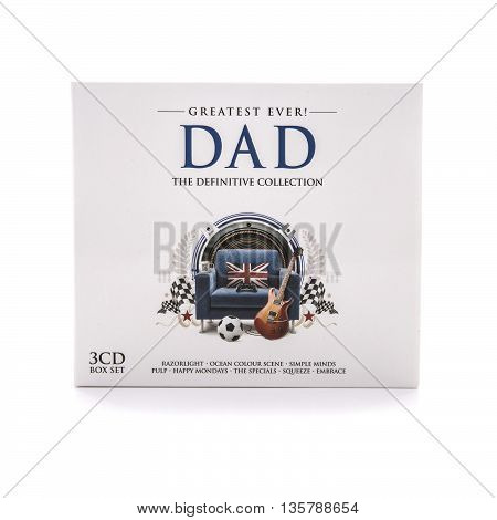 SWINDON UK - JUNE 3 2016: Greatest Ever Dad The Definitive Colection 3 CD Box Set on awhite background