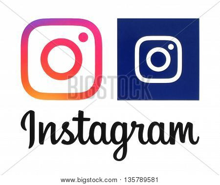 Kiev Ukraine - May 31 2016: Instagram new logos printed on white paper. Instagram is an online mobile photo-sharing video-sharing service.