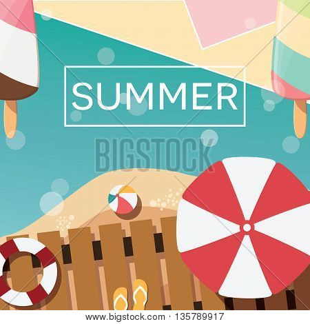 Modern typographic summer poster design with ice cream beach and geometric elements vector illustration