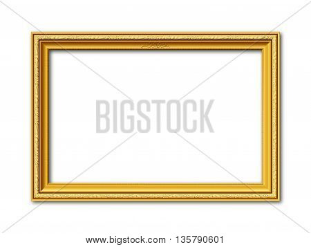 golden ornamental vintage style vector frame isolated on white background