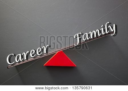 imbalance concept, words career and family on blackboard