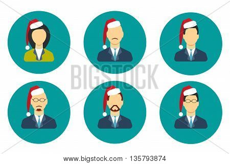 Profile icon set New Year Christmas Holiday. Stock vector. Vector illustration.