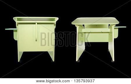 Home homemade mobile desk for younger students in light green color on a black background