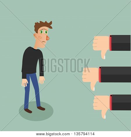 Negative feedback concept. Stock vector. Vector illustration.