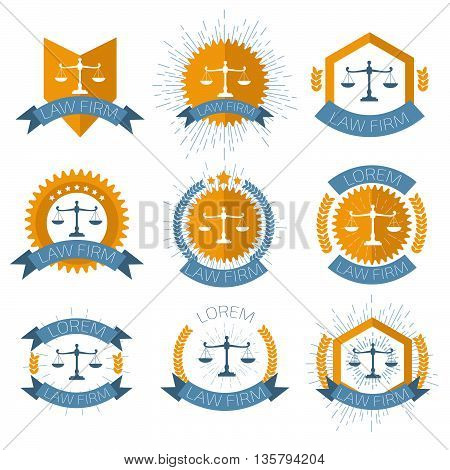 Law Firm logo set. Stock vector. Vector illustration.  .