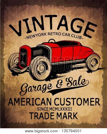 Vintage car tee graphic design fashion style