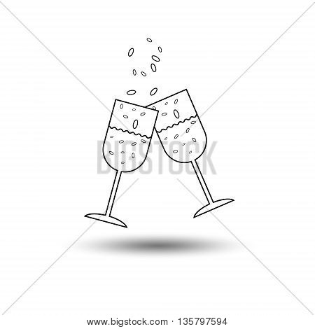 Super party glass of champagne two glasses of champagne to clink glasses with champagne splashes and bubbles on a white background