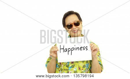 Happy Asian senior woman with hawaii green shirt holding happiness sign on isolate background