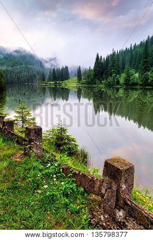 Mountain lake.The Red Lake in Romania .