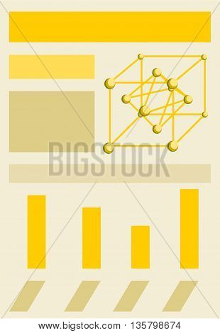Infographic template with crystal lattice of gold, bar chart, and space for text or content
