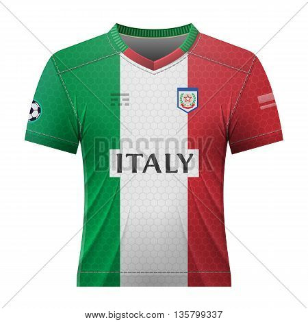 Soccer shirt in italian colors. National jersey for football team of Italy. Qualitative vector illustration about soccer, sport game, football, championship, national team, gameplay, etc