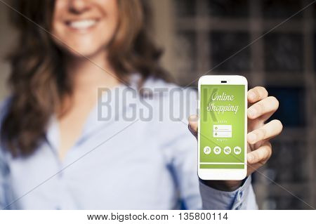 Shopping app on a mobile phone screen, while woman holds the phone.