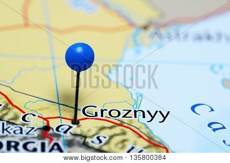 Groznyy pinned on a map of Russia