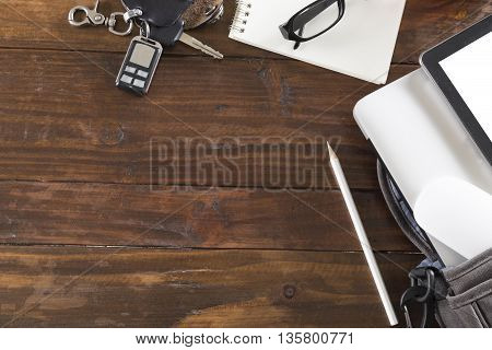 Car Key, Laptop Computer And Tablet On Office Desk - Top View