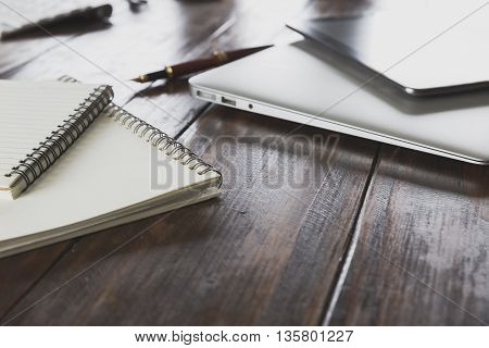 Tablet, Computer Notebook On Office Desk