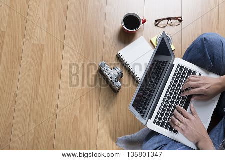 Man With Laptop Computer, Coffee Cup And Eyeglasses - Top View