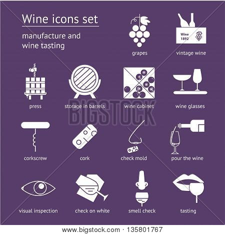 Wine icons collection on violet background. Modern outline style Can be used for wine shop wine company and club for typographic purpose