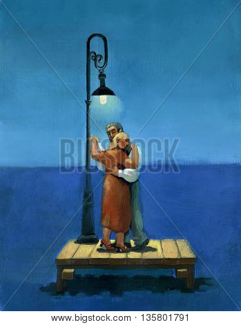 couple dancing under a streetlight in the sea at night dreamy romantic atmosphere