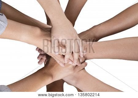 People Put Hand Together Isolated On White Background For Use As Teamwork Concept