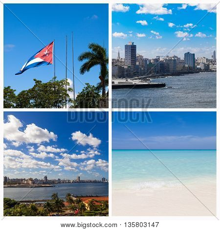 photo collage from Havana Cuba with cuban national flag