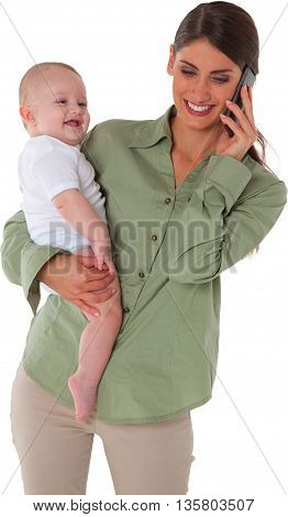 A photo of happy mother carrying son while using mobile phone She is busy talking on smart phone They are isolated over white background