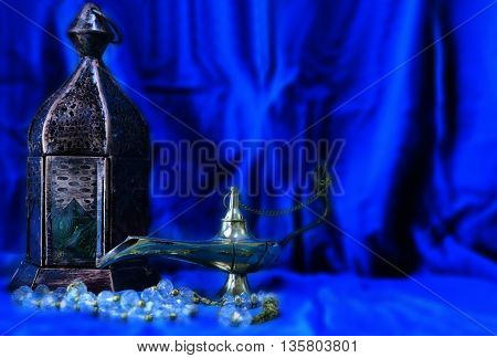 Traditional Lantern and Aladin Lamp for Eid or Ramadan occasion