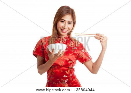 Asian Girl In Chinese Cheongsam Dress With  Chopsticks