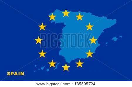 Flag of European Union with Spain on background. Vector EU flag