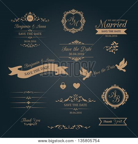 Wedding typography. Save the date, monograms, decorative elements. Can be used for wedding invitation design