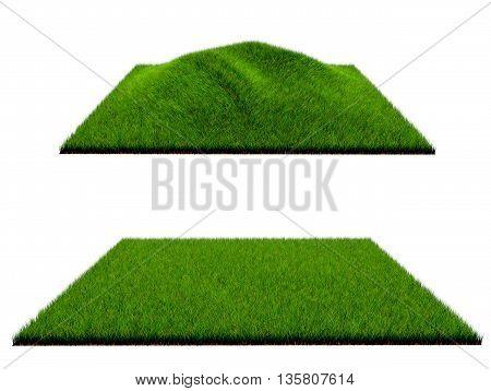 3d grass on white background  lawn, cutout, garden