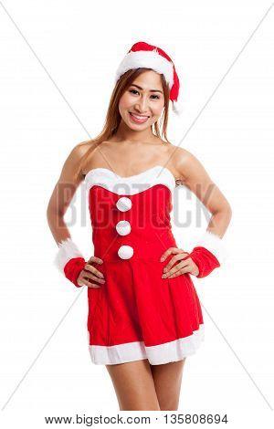 Asian Christmas Girl With Santa Claus Clothes