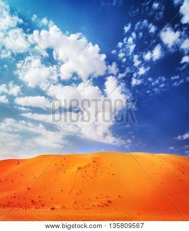 Beautiful desert landscape, bright orange sandy dune over blue cloudy background, beauty of wild area,  Abu Dhabi, Liwa, UAE, Middle East