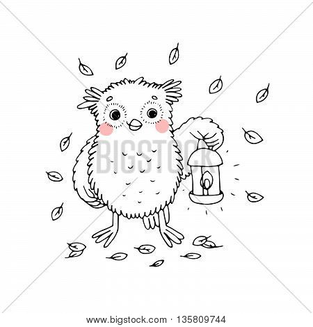 Owl with a lantern.Hand drawn vector illustration on a white background. Coloring book.