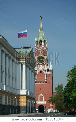 Kremlin tower with chime on the red square, Moscow, Russia