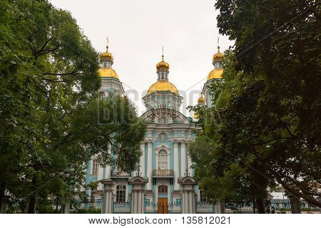 Nicholas-Epiphany Naval Cathedral of St. Nicholas in the garden of St. Petersburg